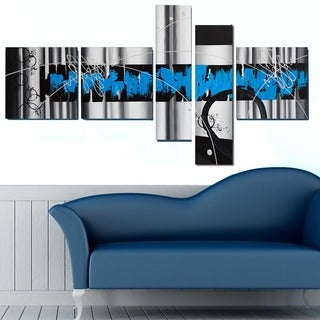 'Blue Abstract' 5-piece Blue Abstract Painting