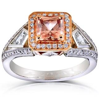 Annello 14k Gold Brown Zircon and 3/5ct TDW Diamond Halo Ring (G-H, VS1-VS2)