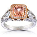 Annello 14k Gold Brown Zircon and 3/5ct TDW Diamond Halo Ring (G-H, VS1-VS2)