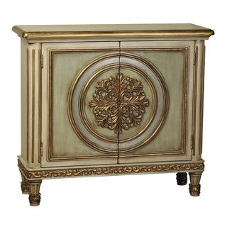 Hand Painted Distressed Gold Finish Accent Chest