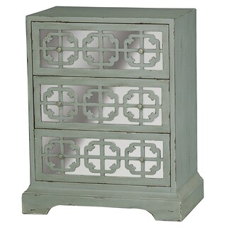 Hand Painted Distressed Vintage Green and Mirrored Finish Accent Chest