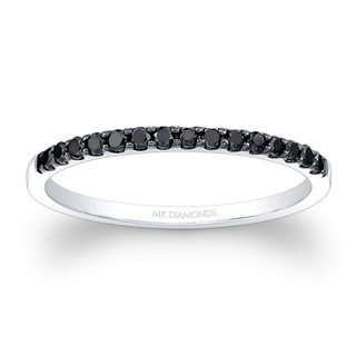 14k White Gold 1/5ct TDW Black Diamond Stackable Band Eternity Ring (I2-I3)