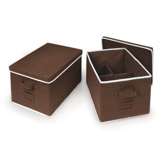 Badger Basket Espresso Large Folding Storage Baskets (Set of 2)