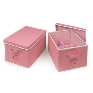 Badger Basket Pink Large Folding Storage Baskets (Set of 2)
