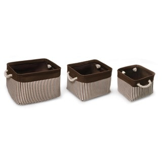 Badger Basket Espresso/Stripe Nesting Square 3 Basket Set