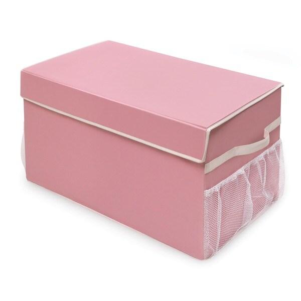 Badger Basket Pink/White Large Folding Storage Box