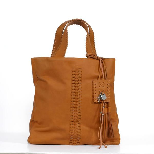 Ralph Lauren Tan Laced Leather Tote