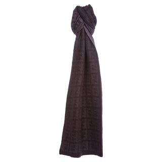 Fendi Dark Purple Zucca Knit Wool Scarf