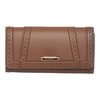 Burberry 'Brogue' Mid Camel Bridled Leather Continental Wallet