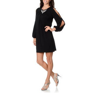 London Times Women's Cold Shoulder Embellished Dress