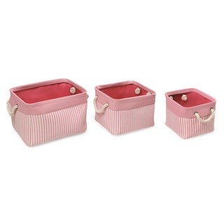 Badger Basket Pink/Stripe Nesting Square 3 Basket Set