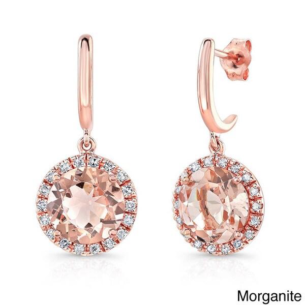 14k Rose Gold 1/5ct TDW White Diamond Drop Gemstone Earrings (J-K, I1-I2)