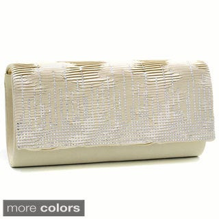 Dasein Pleated Rhinestone Clutch Purse