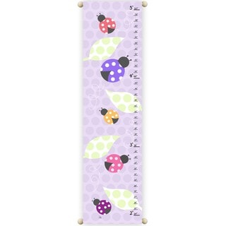 Pink & Purple Ladybugs Children Canvas Growth Chart