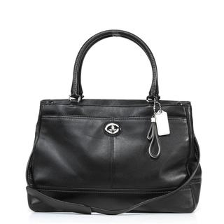 Coach 'Park' Black Leather Large Carryall Bag