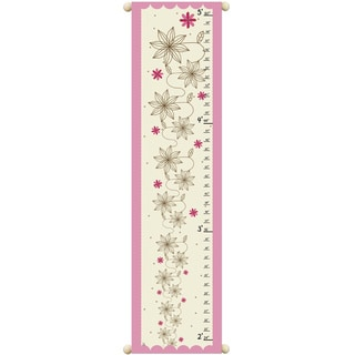 Flowers on Pink Children Canvas Growth Chart