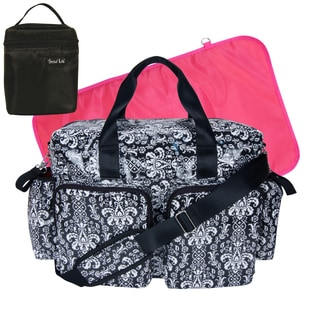 Trend Lab 4-piece Deluxe Duffle/ Bottle Bag Kit in Midnight Fleur Damask