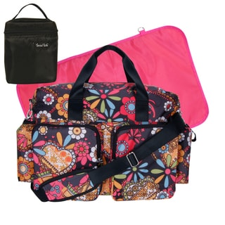 Trend Lab 4-piece Deluxe Duffle/ Bottle Bag Kit in Bohemian Floral