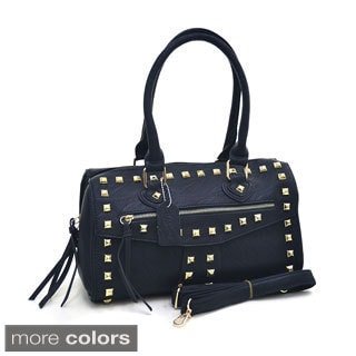 Dasein Zippered Studded Barrel Satchel Bag