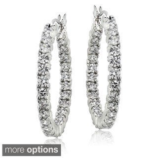 ICZ Stonez Cubic Zirconia Inside Out 25 mm Hoop Earrings