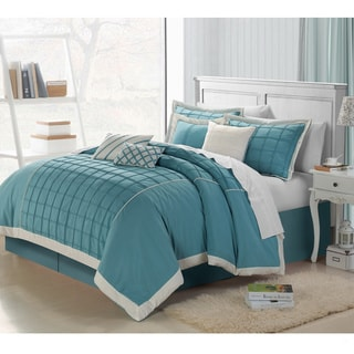 Rhodes 8-pieces Teal Embroidered Comforter Set