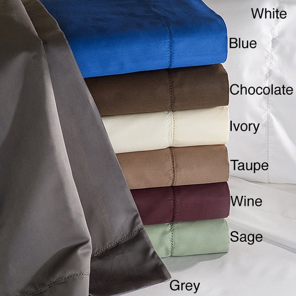 Luxor Treasures Cotton Blend 600 Thread Count 4-Piece Hem Stitch Sheet Set with Pillowcase Separates