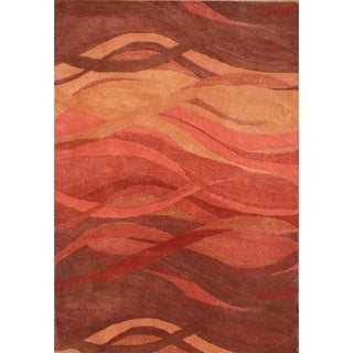 Hand Made Rust New Zealand Blend Wool Area Rug (9' x 12')
