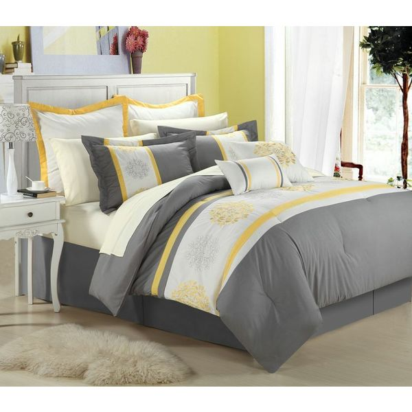 Yellow Gray Bed In A Bag : Beijing yellow piece bed in a bag with sheet set