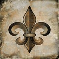 Art in Style Fleur de Lis Bronze Giclee on Canvas Wall Art