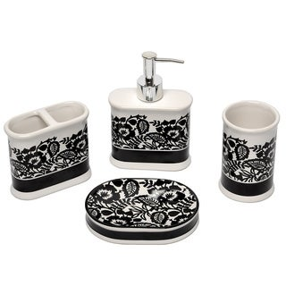 Waverly Esmee Black and White 4-piece Bath Set