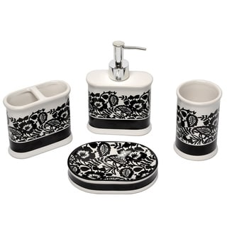 Esmee black and white bath accessory 4 piece set for Black and white bathroom sets