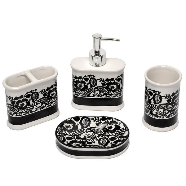 Esmee black and white bath accessory 4 piece set for Black and cream bathroom accessories
