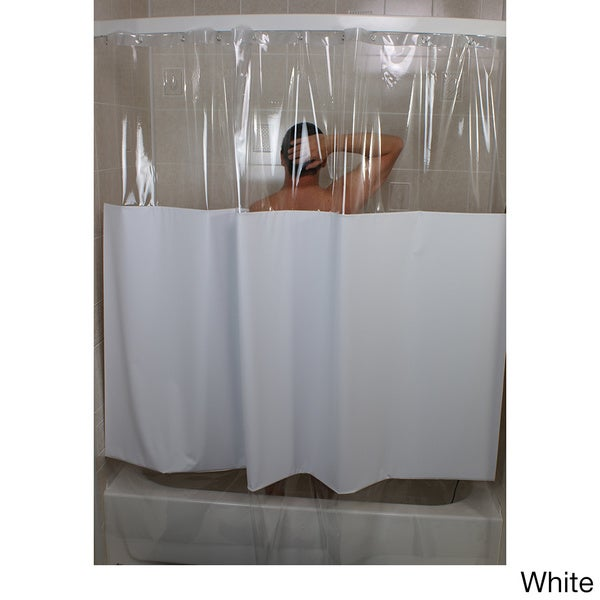 sneakpeek solid color w clear vinyl shower curtain