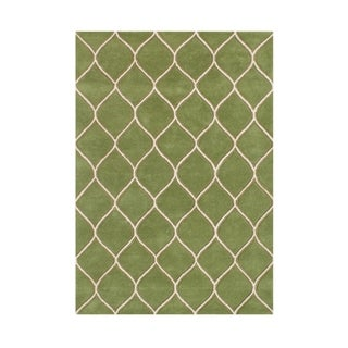 Alliyah Hand Made Green New Zealand Blend Wool Rug (9' x 12')