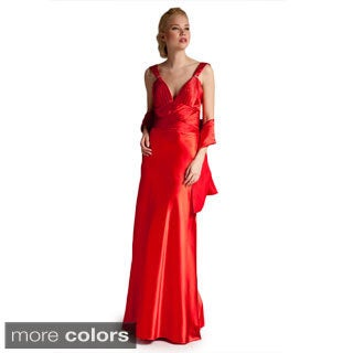 Satin Cross-strap Evening Dress