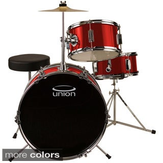 Union UJ3 3-Piece Junior Drum Set with Hardware, Cymbal, and Throne