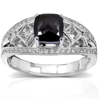 Annello 18k White Gold 1 3/4ct TDW Cushion Cut Black and White Diamond Ring (H-I, VS1-VS2)