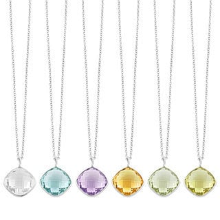 Fremada Sterling Silver Square Gemstone Pendant Necklace (18 inch)