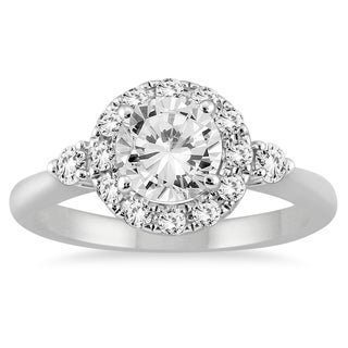 14k White Gold 1 2/5ct TDW Round Halo Diamond Ring (I-J, I2-I3)