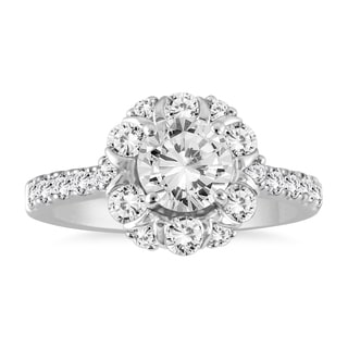 14K White Gold 1 7/8ct TDW Halo Diamond Engagement Ring (I-J,I2-I3)