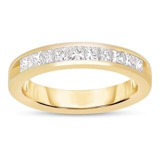 14k Yellow Gold 3/4ct TWD Princess Diamond Band