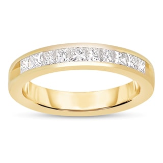 14k Yellow Gold 3/4ct TWD Princess Diamond Band