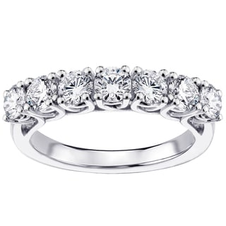 14k White Gold and Platinum 1.50ct TDW Braided 7-Diamond Wedding Band (F-G, SI1-SI2)