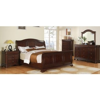 Caspian 5-piece Cherry Finish Bedroom Set with Sleigh Bed