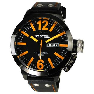 TW Steel Men's 'CEO Canteen' Black Leather Watch