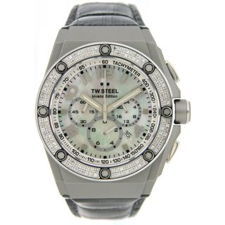 TW Steel Men's 'CEO TECH' Grey Leather Diamond Accent Watch