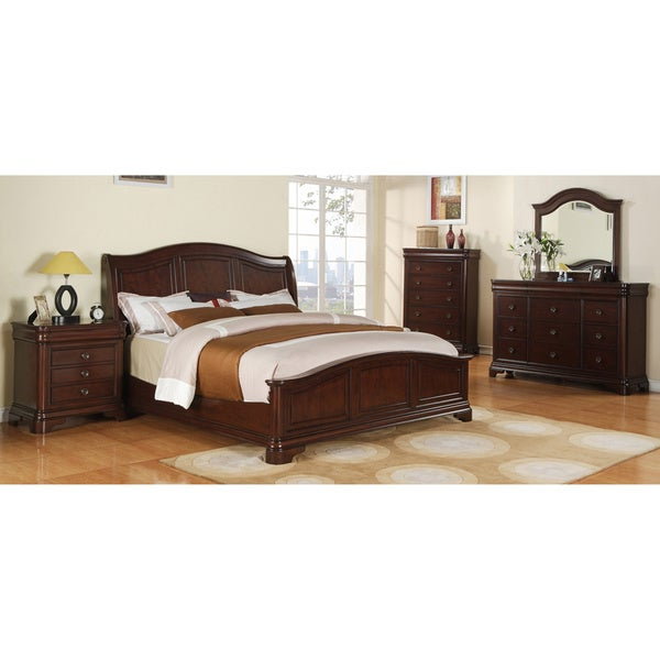 camarillo collection 5 piece rich brown solid wood bedroom set