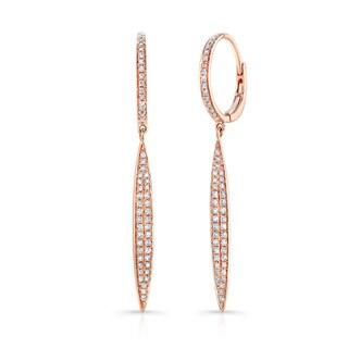 Victoria Kay 14k Rose Gold 2/5ct TDW Pave Linear Diamond Drop Earrings (J-K, I2-I3)