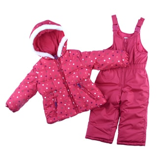 Osh Kosh Toddler Girls Pink polka Dot Snowsuit and Jacket Set