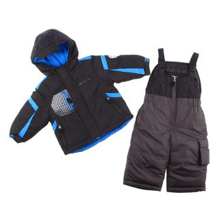London Fog Infant Boys Black/ Blue 2-piece Snowsuit and Jacket Set